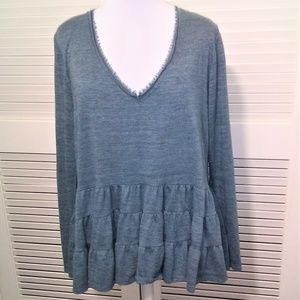 Anthropologie Deletta Long Sleeve Top with Flounce